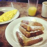 French Toast, Eggs, Sausage, Juice, Coffee