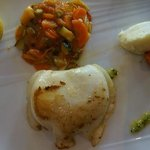 Calamari steak with vegetables