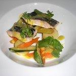 pez espada a la parrilla, flan de patata dulce, compota de chorizo y salsa romesco