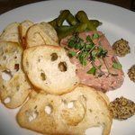 Charcuterie special: pork pate with cornichons & grainy mustard