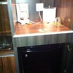 mini fridge and coffee maker(also provide a wine opener and wine glasses)