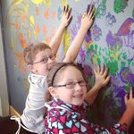 Finger painting the wall