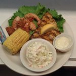 Grilled amberjack with steamed shrimp!