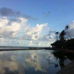 A praia no inicio da manhã