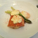 hay smoked king salmon Benedict