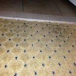 dirty carpet near bathroom