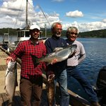 My Dad, AG and I with our salmon