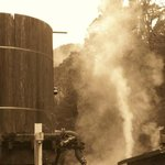 steam from funnel of train...