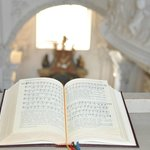 An open hym book in the cathedral