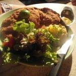 Schnitzel with mash potato salad