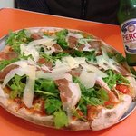 pizza and beer at Rifo's