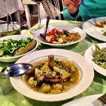 eggplant salad, spinach yoghurt, artichokes