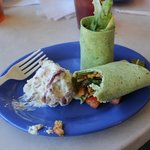 Asian Chick Wrap w/o cheese and potato salad