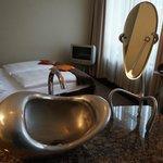 stylish sink and mirror