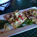 Ahi Tuna Flatbread Appetizer..MY FAV...sorry, I ate one in haste b4 photo