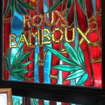 """Roux Bamboo"" stained glass in serving area. There are many varieties of bamboo growing in the g"