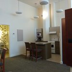 Kitchen of the 2 bedroom suite - high ceilings!