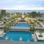 View to pool and beach from balcony of lobby