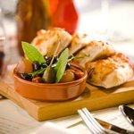 Garlic Mozzarella Bread and Olives