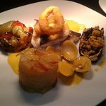 Sea Bass, clams and calamari,