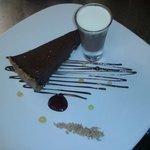 Dark chocolate torte, orange chocolate shot