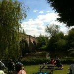 Bridge over Ure, W Tanfield from Bull Inn beer garden