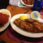 Fried Haddock and Spaghetti