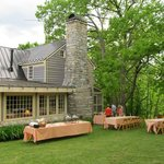 Picnic supper outside Chumley Homeplace