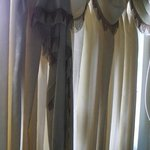 Falling curtains in the room