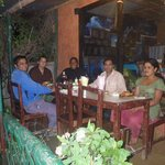 Trekking guide, owner and us at the restaurant