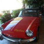 vintage car outside hotel