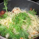 Seafood, chorizo & linguine still in the pan