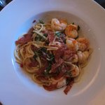 Plated seafood & chorizo with linguine