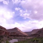 Late afternoon on the San Juan River in the canyon upstream from Mexican Hat