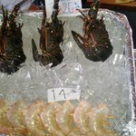The small lobester and shrimp ready to be cooked