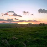 Sunset outside the Sportsman Inn. In the crest of the hills over Greystoke & Whitbarrow in Cumbr