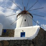 The famous Mykonos windmills in front of the hotel