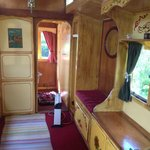 The traditional painted insides of the showmans caravan.