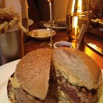 Tuna burger and pommes frites