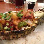 Emptied Grilled Chicken Teriyaki Pineapple bowl at Black Oak Cafe
