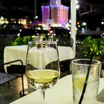 A glass of Caposaldo Pinot Grigio on Ovenella's patio.