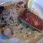 Scallops and salmon with fettucine