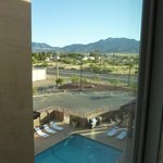 View from room of swimming pool and Huachuca Mountains.