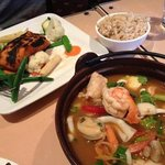 chargrilled salmon & seafood hotpot