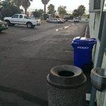 parking lot looks like backstreet of bad restaurant strip mall