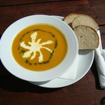 Lunch Time! Delicious Homemade Soup of the Day with Organic Home made bread