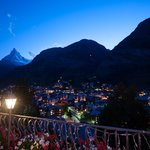 View in the twilight from the Chalet Hotel Schönegg