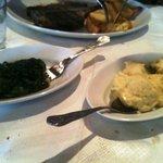 Steak spinach and mash