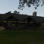 back of the lodge at sunrise