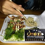 garlic prawn special with seaweed salad